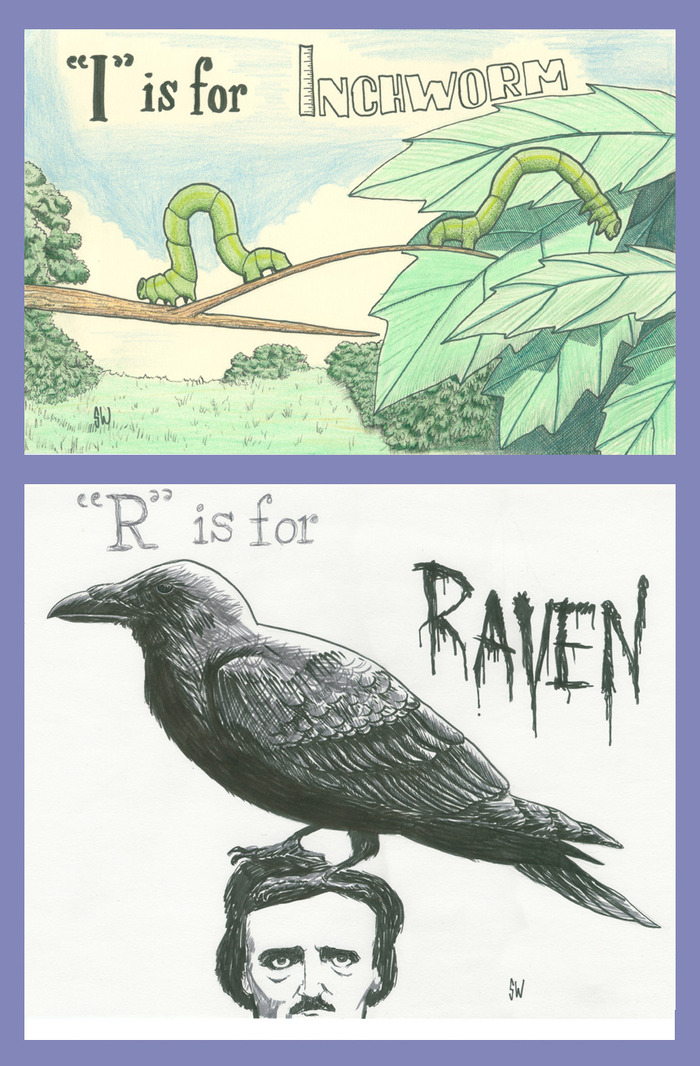 I is for Inchworm; R is for Raven