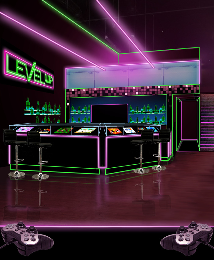 Rough concept design of Level Up's main bar