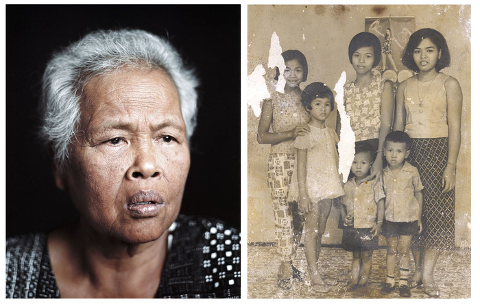 [Left to right] Portrait of my grandmother, Stockton, CA. The Cambodian Diaspora, Pete Pin 2010; Family portrait pre-revolution, one of only two family possessions saved by my family from before the Killing Fields, Cambodia 1972