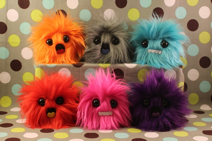 Puff monsters!  About 3 inches tall.  Choose a color, and one of three expressions! $25 minimum pledge reward gets this PLUS MORE