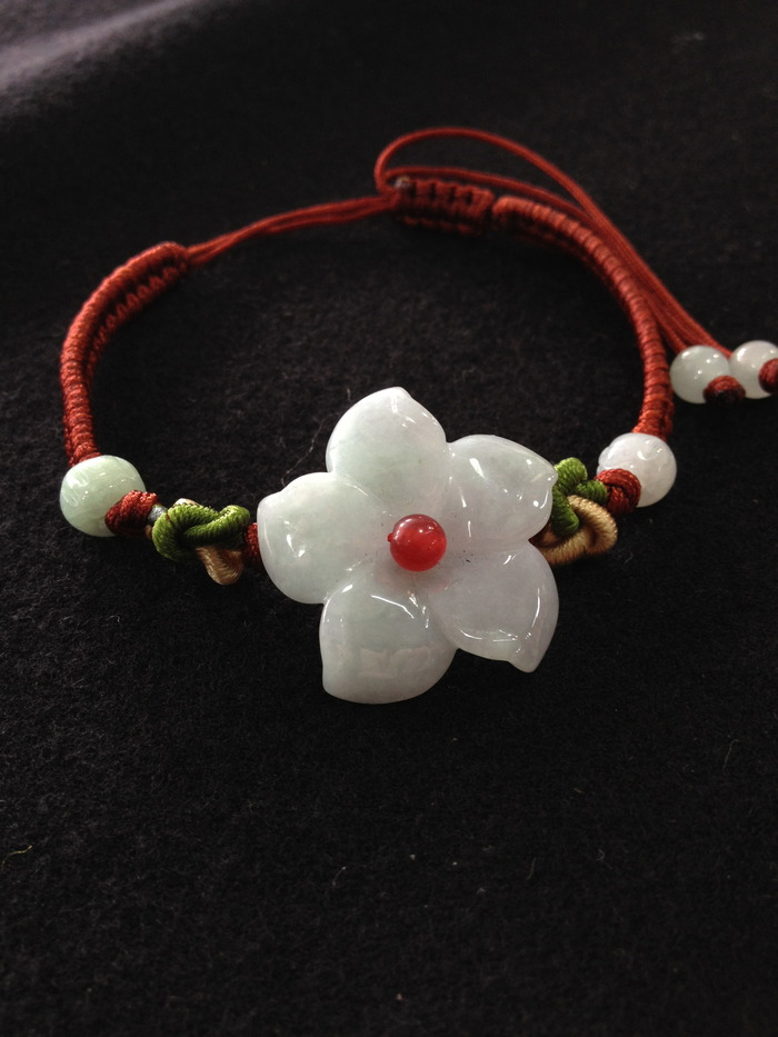A lovely Burmese jade bracelet just like Buster's lucky amulet!