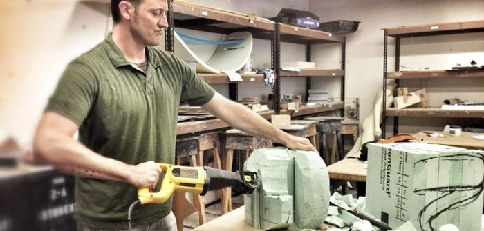 Industrial Designer Steve Martin works on props