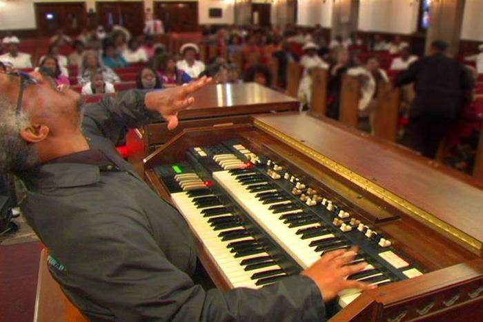 Philadelphia, PA - Chicago organist Chris Foreman plays at a musical tribute in Philadephia, PA.