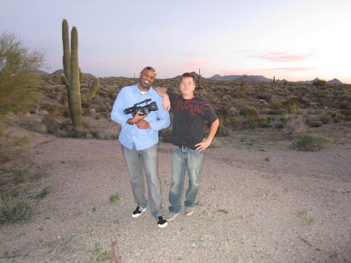 Scottsdale, AZ - Murv Seymour (L) and Joe Bamford (R) in the desert after two day shoot with organist Joey DeFrancesco.