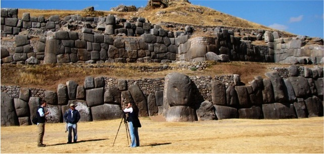 Benjamin Younkman & Maren Elwood filming at the main Saqsaywaman complex.