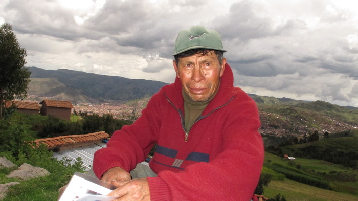 Miguel Nina is Quecha descendant of the Inca and he has been participating in our film since 2010.  He lives in a community at 13,000' above sea level without a road.  The hike in is grueling and they'd like a road built soon.