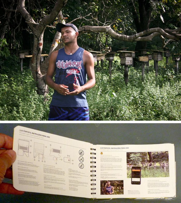 Sustainable Forest Entrepreneur mock-up page for the TAKING CHARGE Pocket Guide.  A beekeeper offers tips to local entrepreneurs on how his enterprise uses portable solar energy and a cell phone.