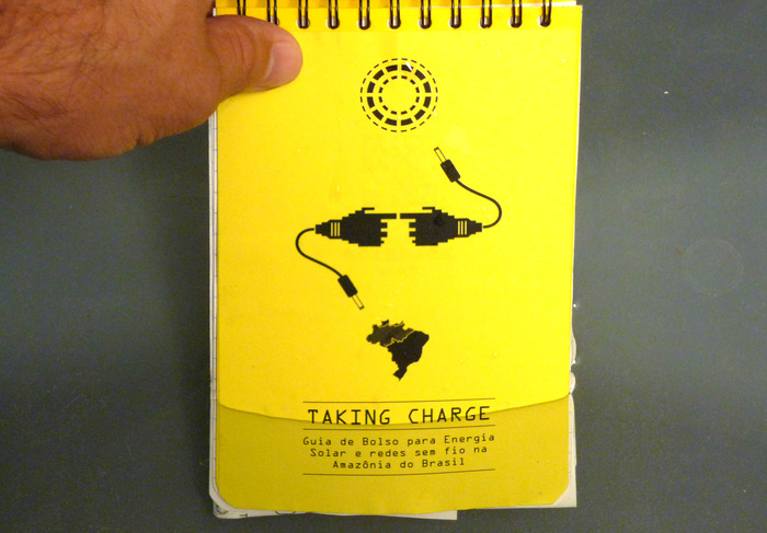 Mockup of the resilient, waterproof TAKING CHARGE pocket guide