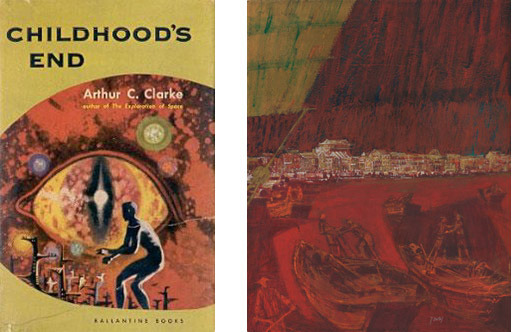 "Left: Book cover for ""Childhood's End"" by Arthur C. Clarke. Right: Illustration of Singapore for Life International, August, 1964"