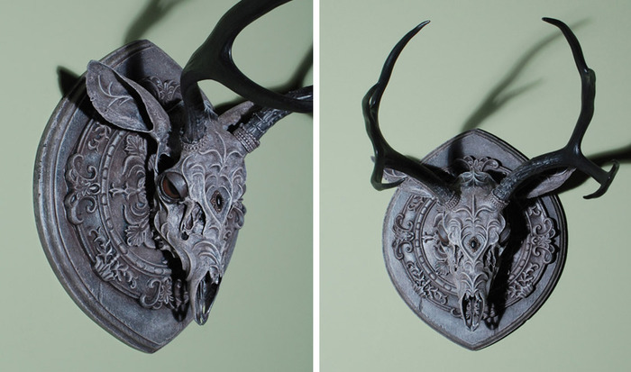 "$2500 — ""Girard"" — 20""x14""x20"" Mule Deer skull, clay, mixed media"