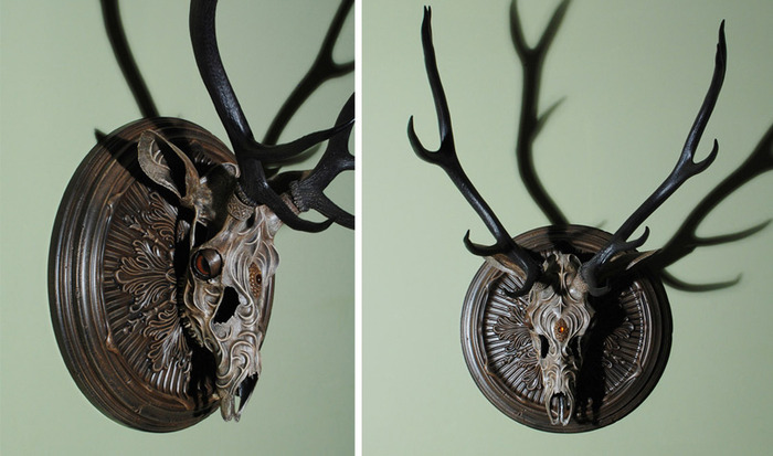 "$3600 — ""The Duke"" — 43""x28""x23"" Elk skull, clay, mixed media"