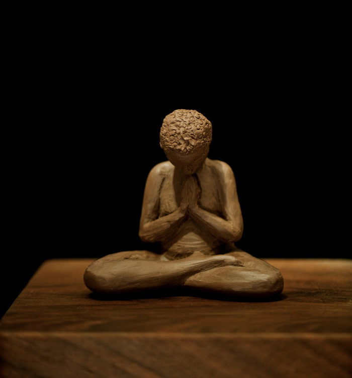 "Namaste (clay sculpture before casting), Limited Editions, 4"" x 4"" x 3"", Photo by Francine Filsinger"