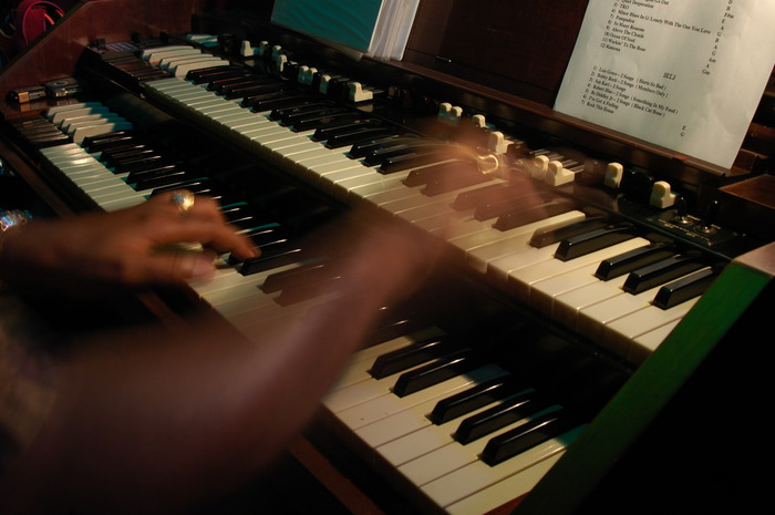 Riverview, FL - Organist Shawn Brown plays a sweet lick during gig at the Smoking Dog.