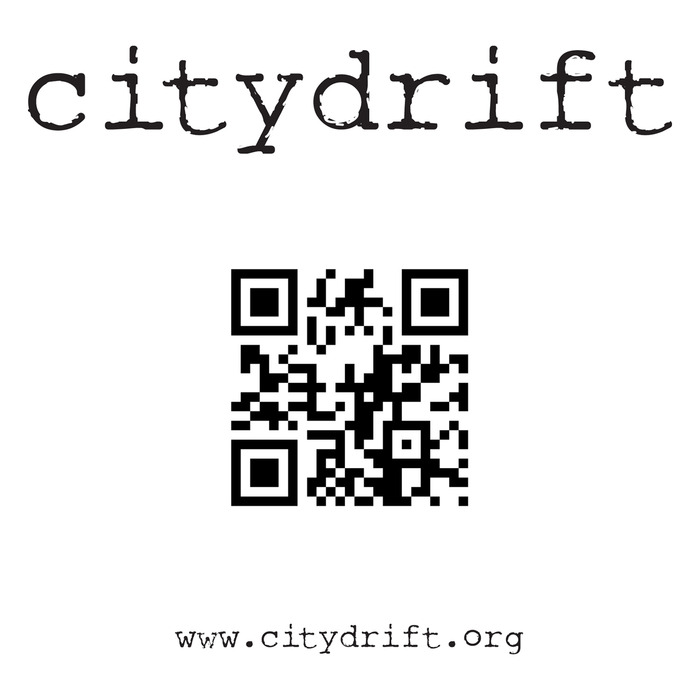 "A 5"" x 5"" vinyl high resolution reusable vinyl sticker with the original ""citydrift"" logo, and the unique QR code."