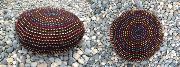 "Crocheted ""Pouf"" cushion handmade by Jill Janzen $150.00 reward"
