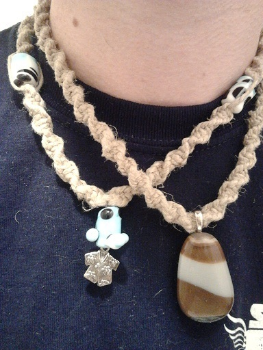 Hemp necklaces similar to those recieved in reward #5