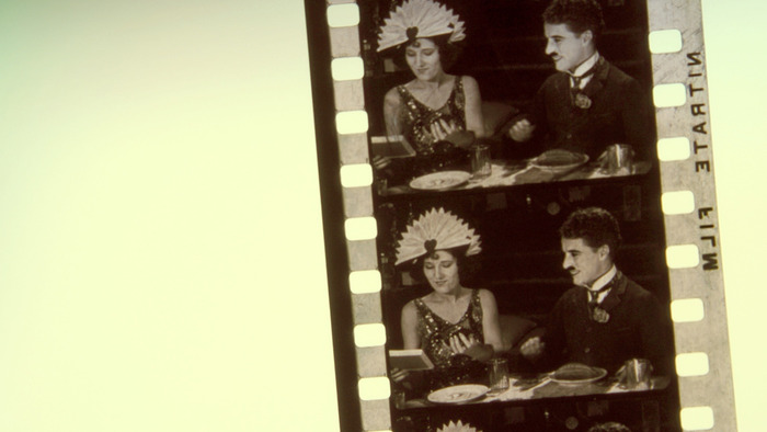 "An actual nitrate frame grab of a section of Charlie Chaplin's ""GOLD RUSH"". Owing to deterioration, this 15 foot section is all that's left of this print of the classic film."