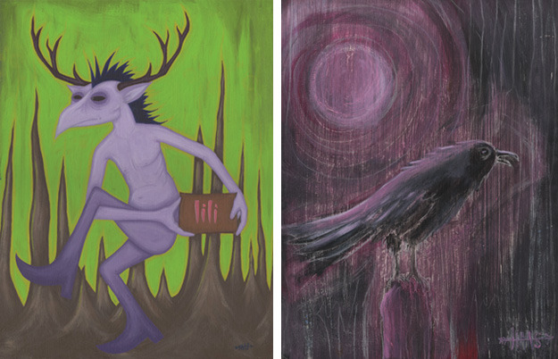 """Lili"" acrylic on board, 2010  //  ""The Crow Knows"" acrylic on board, 2002"