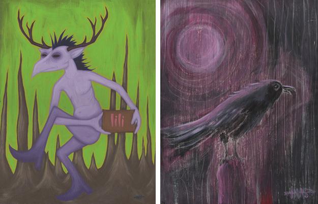 """Lili"" acrylic on board, 2010  //  ""The Crow Knows"" acrylic on board, 2002"