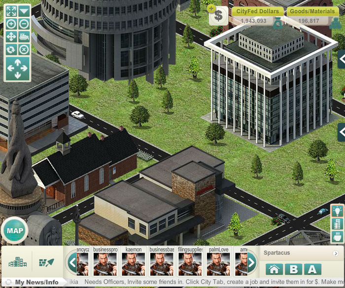 City Scene with Basic (B) Interface to see buildings close up.  (Normal View - this is a small screen compared to Full View)