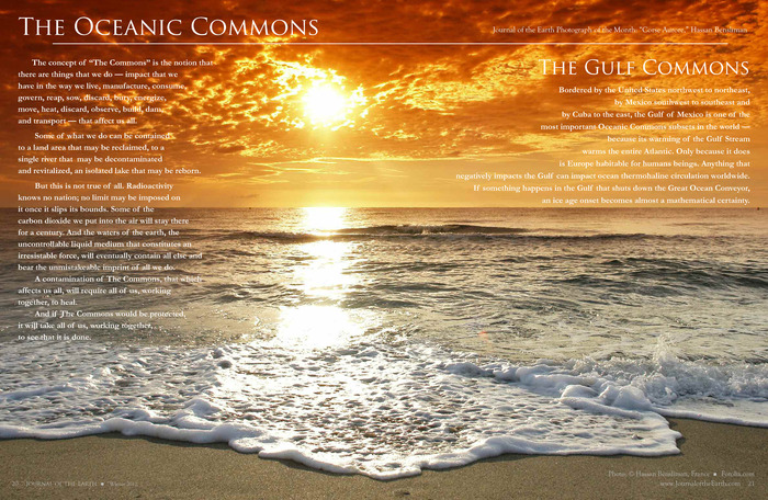 "The Oceanic Commons Spread from our first issue. Photograph: ""Corse Aurore"" (Corsican Sunset) by Hassan Bensliman, headmaster of a kindergarten in Paris, France."