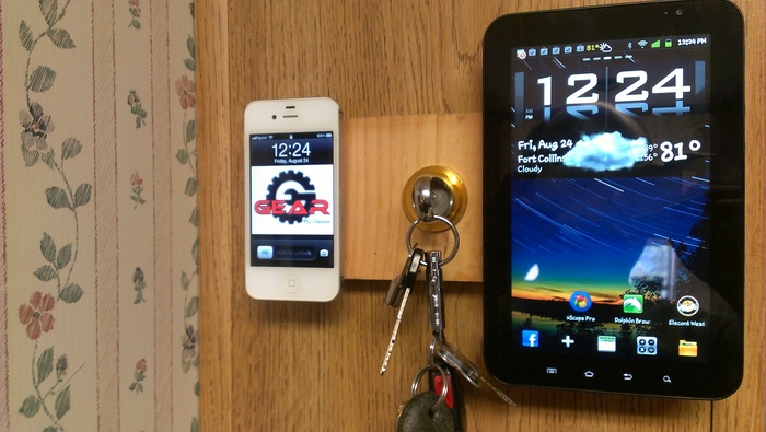 "(Left): iPhone with Part ""A."" (Middle): Key w/Signet Ring. (Right): Galaxy Tab with Stainless Steel Mounting Disc"