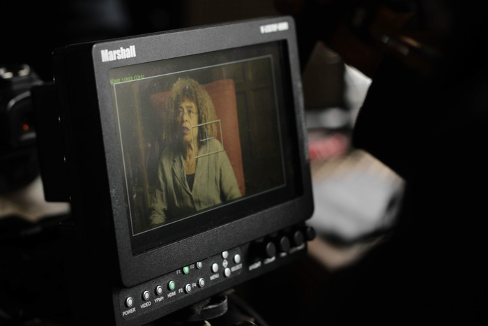 an interview with Angela Davis in OUT IN THE NIGHT