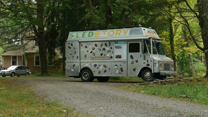 Jeanette Hart-Mann's 'Seed Broadcast' truck arrives at the Hudson Valley Seed Library in Upstate New York