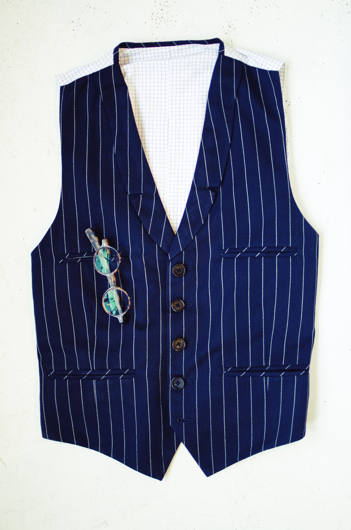 Five Pocket Pinstripe Vest - No Lapel and Double Breasted Versions will also be Available in Three Different Fabric Choices