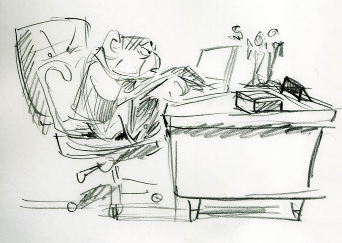 Early Concept Sketch of Chim working at his desk