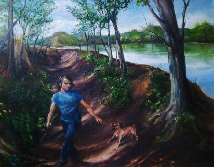 """EXAMPLE: Oil on canvas  """"Walk by Walden Pond""""  24"""" X 30"""" By Roger Kabler"""