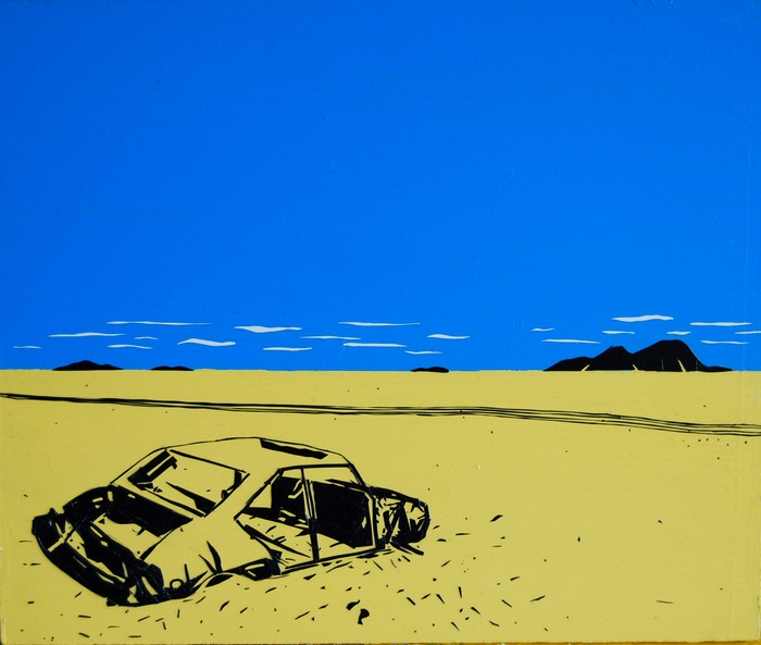 """Car in the Sahara Desert"", black and white electrical tape and acyrlic paint on wood (12""X10"")"