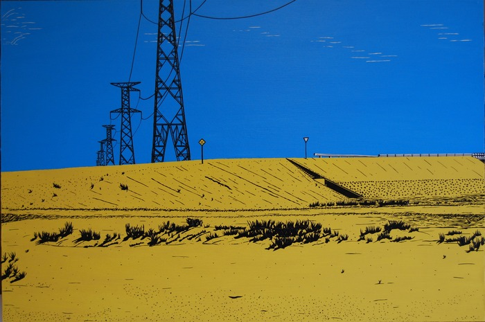 """Bolivian Power Lines"", black and white electrical tape and acyrlic paint on wood (24""X36"")"
