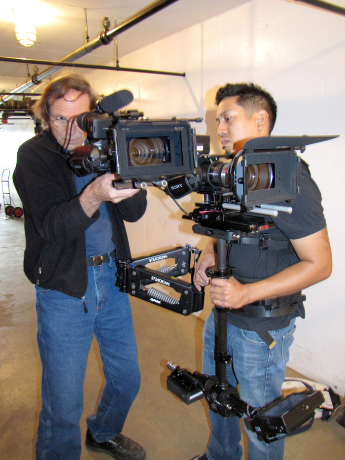 Stephen Blanor and Steadicam operator Rey Reyes sync their cameras for a shot.