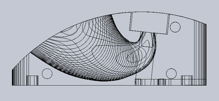 Profile wireframe view of the sculpted horn. Each wave within the horn represents the edge of each piece that comprises GrooveDock.