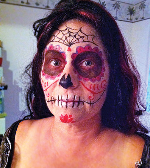 Last year's traditional make-up job. Time spent:  Well over an hour!
