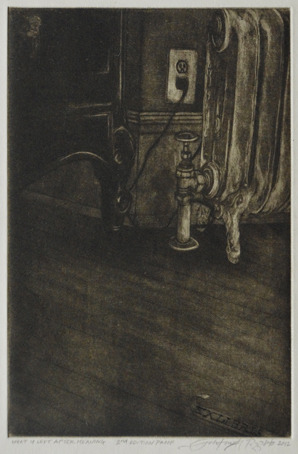 "Johntimothy Pizzuto, What is Left After Meaning, 6"" x 4"" Dry-Point Mezzotint"