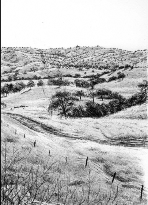 "Brandon Sanderson, Yokohl Valley, California,  6"" x 9"" Stone Lithography"