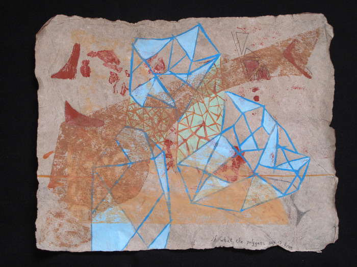 "Nicole Donnelly, ""if what the polygons say is true."" Woodblock print (with acrylic paint, pen, and ink) on handmade flax paper"