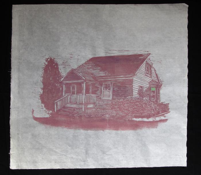 "Kristen Necessary, Behave House, Woodblock print 24"" x 26"""