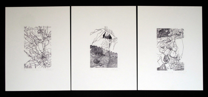 "Dora Malech, ""Love Story I,II, & II"" (set of three)  8"" x 11"" inkjet prints"