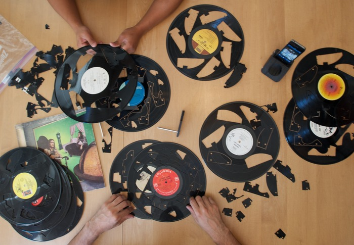 Assorted patterns used to cut GrooveDock pieces from recycled vinyl records. Receive one cut record with any LP jacket pledge!