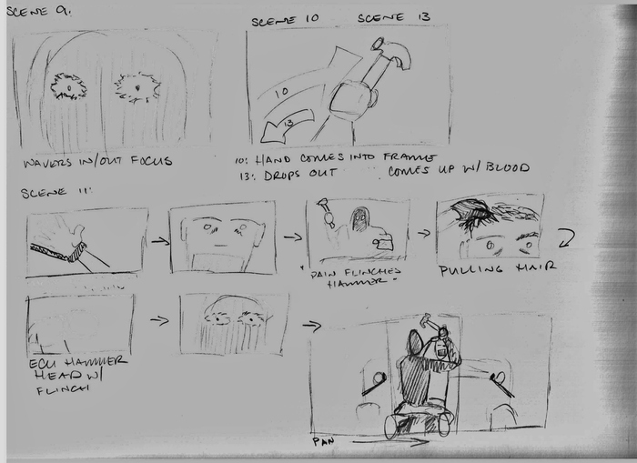 A page of completed storyboards
