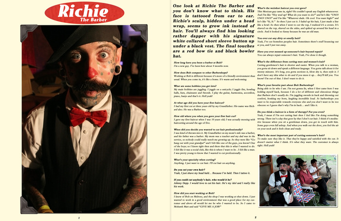 A sample barber interview page.