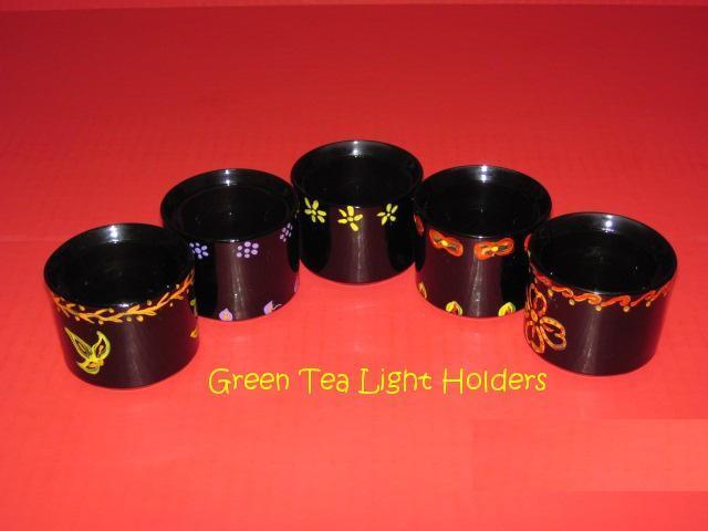 Hand painted green tea light holders