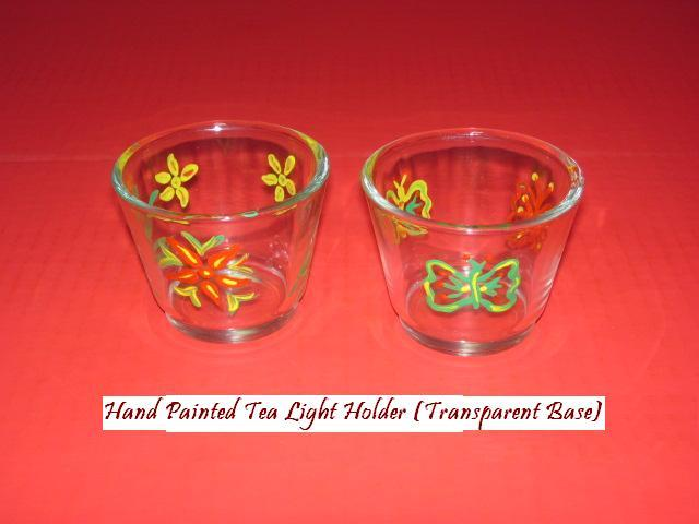 Hand painted transparent tea light holder