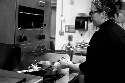 Chef Caroline can sure make some tasty food, with the right equipment! ; photo provided by Allie Mullin
