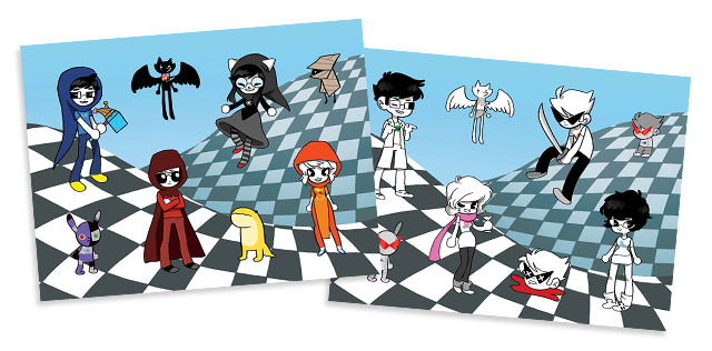 "Two 8"" x 6"" Beta and Alpha Kids themed sticker sheets by arlir"
