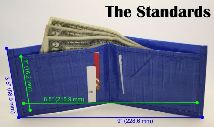 """The Standards"" Our traditional bi-fold offering. 4 individual card slots & a separate cash pocket (or receipts, napkins with numbers, whatever!) Green number show the interior measurements, while the blue show the overall dimensions (seam allowances)."