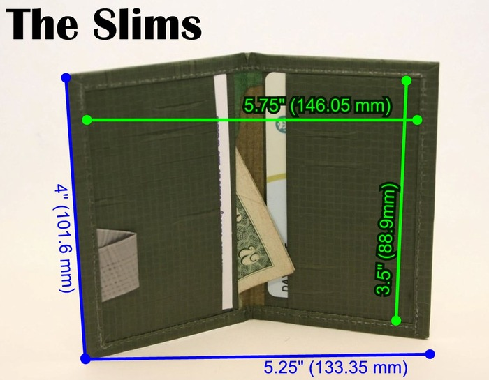"""""""The Slims"""" Our compact, front pocket offering. This also has 4 individual card slots, although most use the back 2 slots as pockets for cash and such, leaving the front 2 slots to cards. Most common use: Business Cards."""